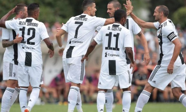 Ronaldo (7) scored his first goals for Juventus against Sassoulo on Sunday afternoon