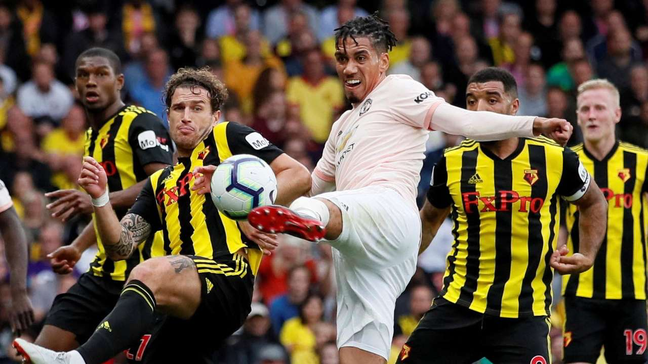Smalling (center) scored what proved to be the winner against Watford on Saturday