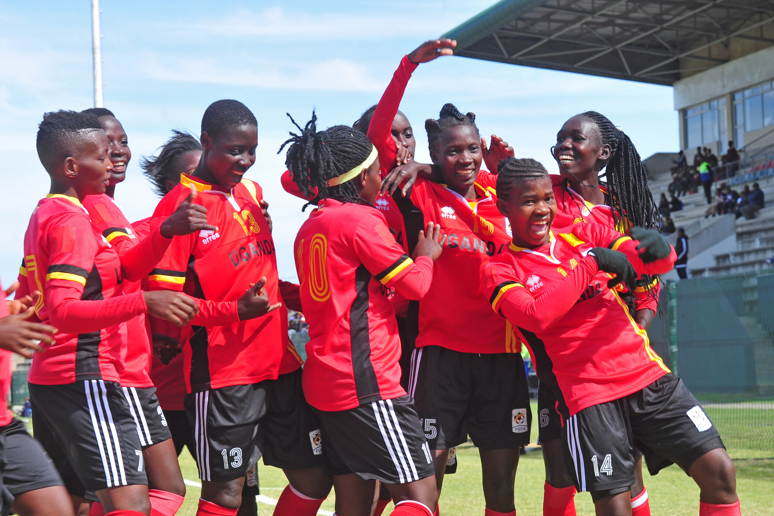 Crested Cranes players celebrate on of the goals against Swaziland on Wednesday (photo by FUFA media)