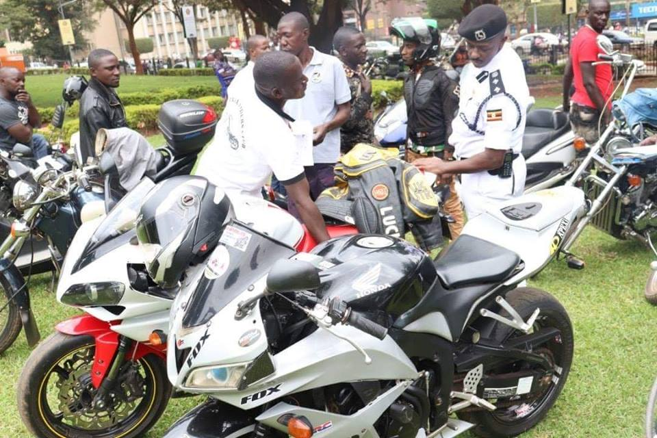 sport motorbikes assembled for registration by Police