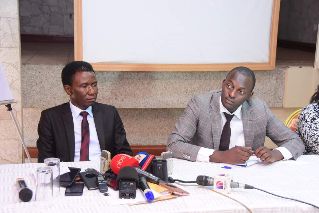 Lawyers Gawaya Tegule & Eron Kiiza at a presser recently. (FILE PHOTO)