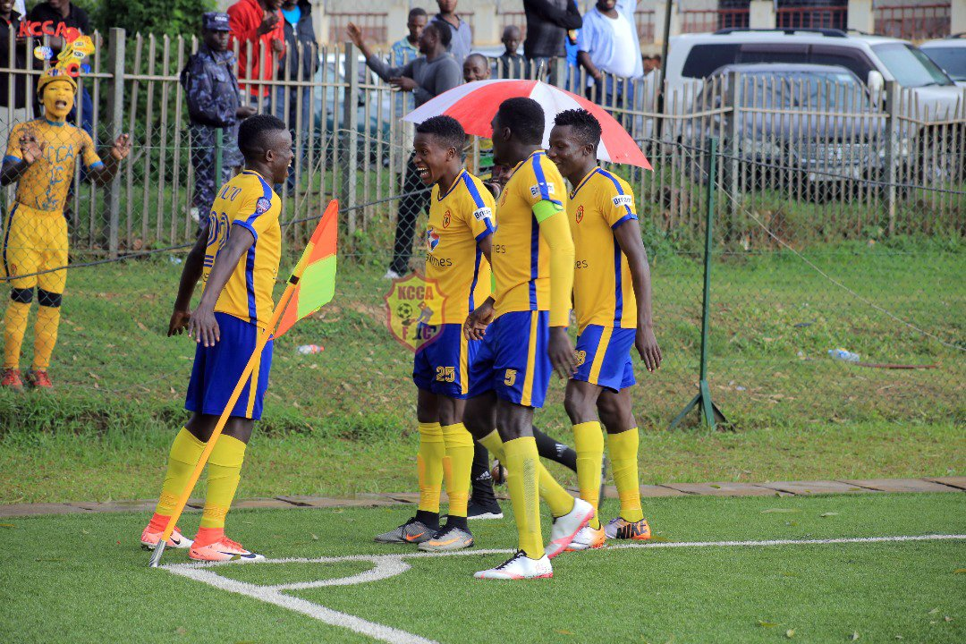 Julius Poloto (left) celebrates with some of his teammates after scoring the winner against Soana last season
