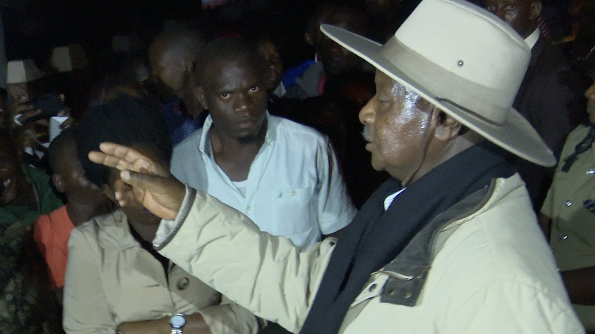 President Museveni talks to the people in Bulenga adjacent at the crime scene of murder of former Buyende DPC Muhammad Kirumira August 16 (FILE PHOTO)
