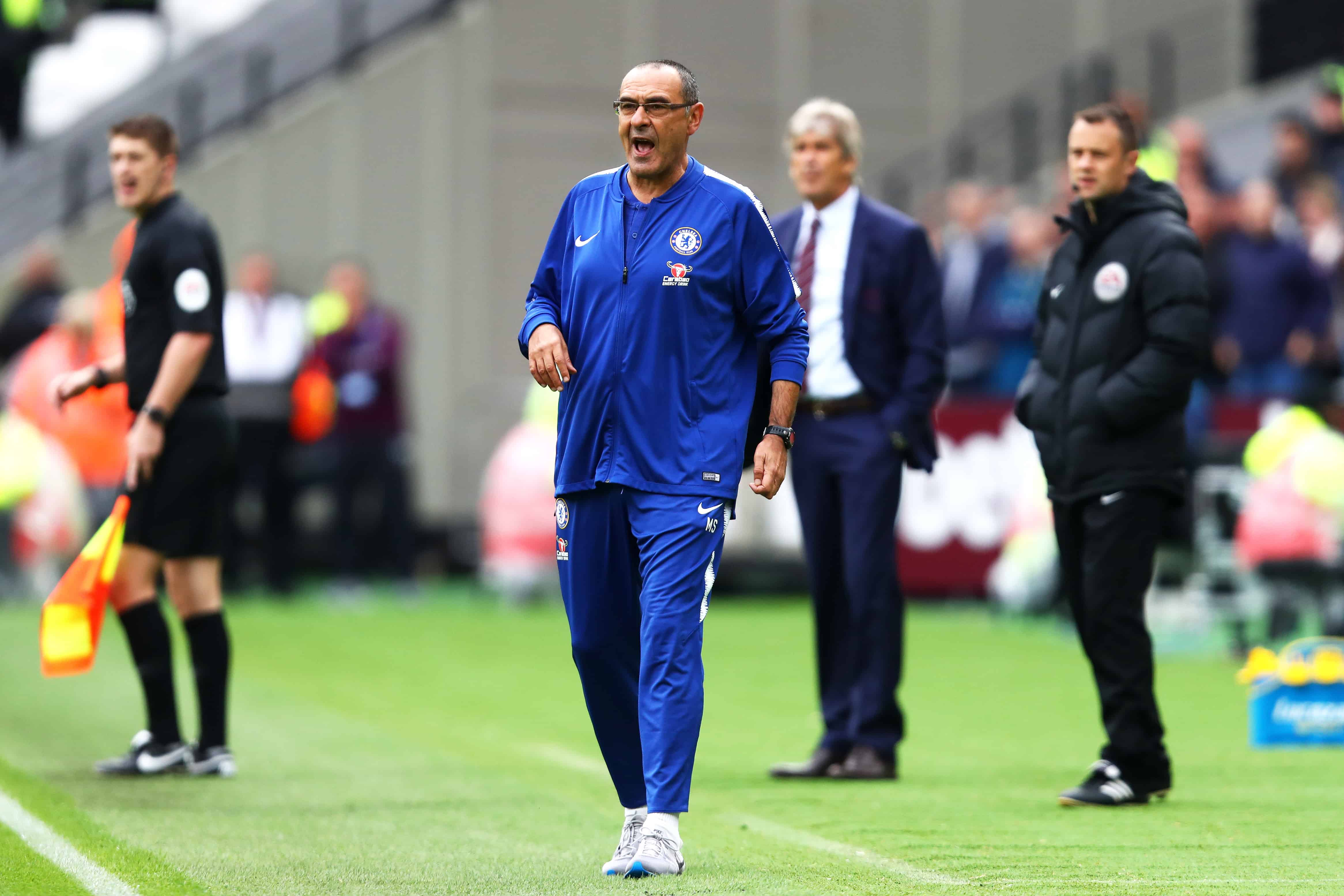 Sarri's Chelsea have lost four consecutive games to top six sides (file photo)