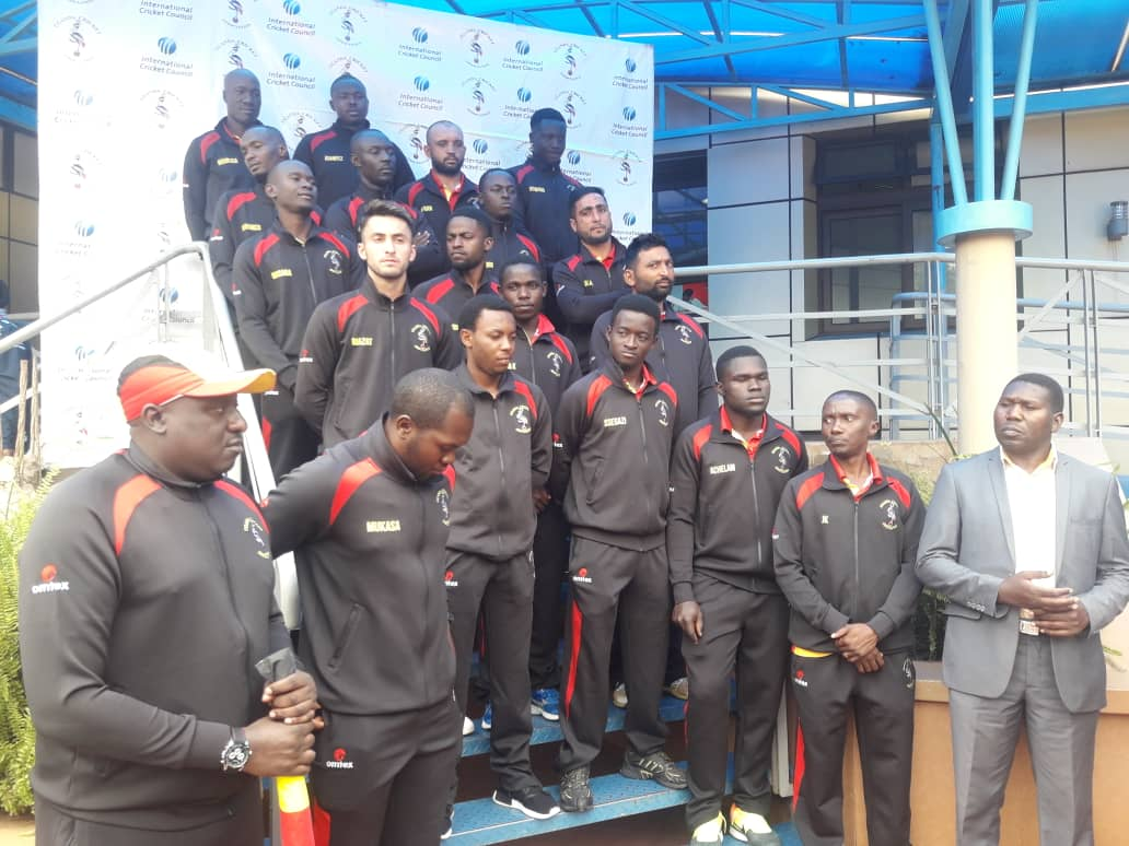 Cricket Cranes team before departure for South Africa (photo by Shaban Lubega)