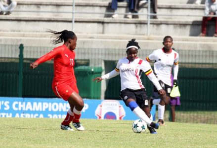 Hassifah Nassuna (right) in action against Namibia on Saturday  (photo by FUFA media)