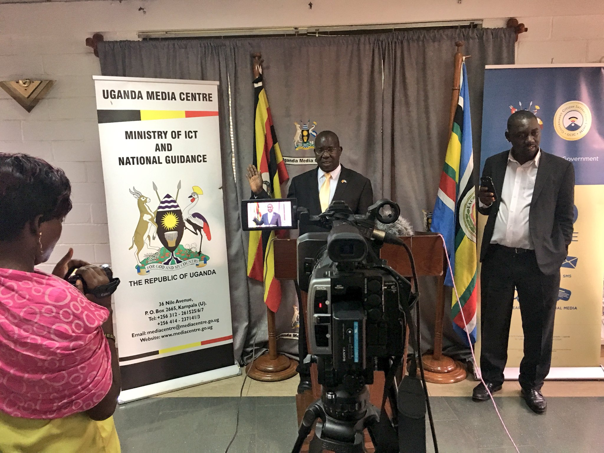 Ethics and Integrity Minister, Fr. Lokodo, announcing MTN Nyege Nyege ban at Media Center September 4 (PML Daily PHOTO)