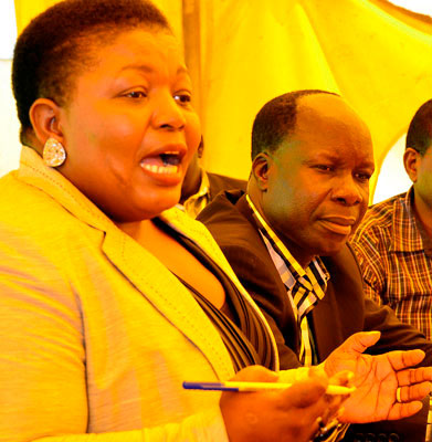 NRM Secretary General, Kasule Lumumba and NRM EC Tanga Odoi at a press conference recently. NRM has called for loyalty following the defection of Mitooma RDC RDC Guma Nuwagaba to FDC ahead of the Sheema North by elections (FILE PHOTO)