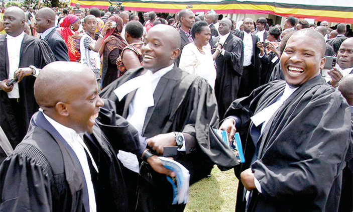 Graduates jubilate upon being awarded diplomas in law during the 43rd Law Development Centre graduation ceremony at LDC Makerere last year