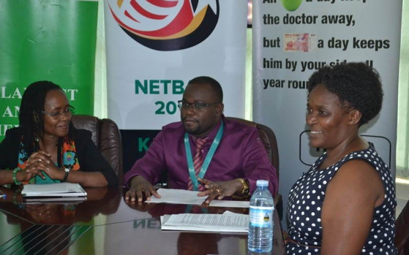 Dr. Sarah Ssali, Mr. Aurthur Esimat and Ms. Peninnah Kabenge during a press conference at IAA Healthcare Offices (photo by Javir Ssebwami)
