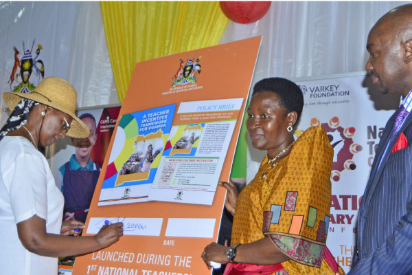 Education minister Janet Museveni (left), flanked by Primary Education minister Rosemary Sseninde. (PHOTO/File)
