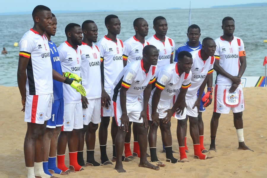 The Sand Cranes team that lost to Ivory Coast on Sunday (Photo by FUFA Media)