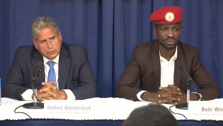 Bobi Wine with his outspoken international lawyer Robert Amsterdam in Washington DC at the September 6 Press Conference in Washington DC