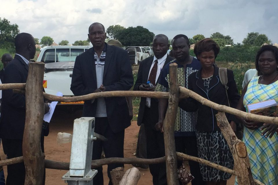 The Nebbi L C 5 Late Esrom William Alenyo Commissioning a borehole at Kumbu Village in Nebbi Sub County. He passed on early Tuesday September 25 (FILE PHOTO)