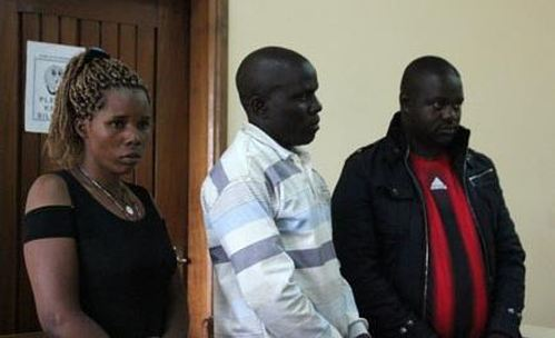 Ivan Katongole (right), his co-accused Andrew Kizito (centre) and Helen Nabaggala (left) in court on September 25, 2017.  (FILE PHOTO)