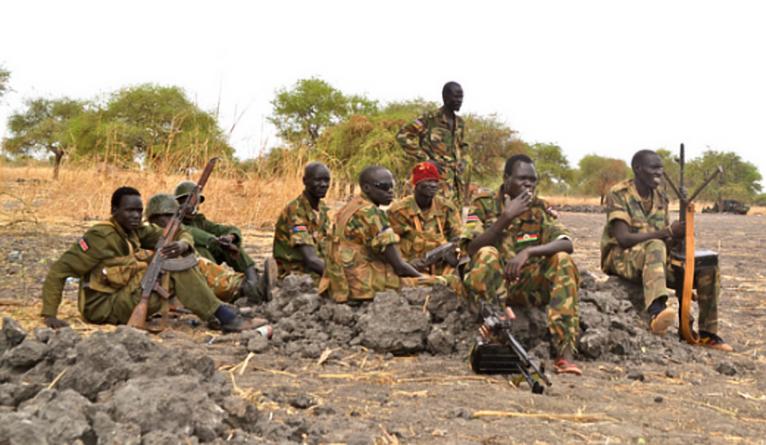SPLM(O) soldiers a few mile off the Uganda - South Sudan border of Nimule (FILE PHOTO)