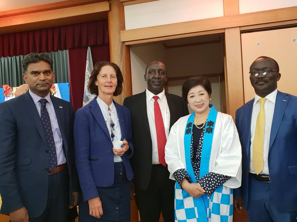 The Governor of Tokyo Yuriko Koike, IWA President Diane Da'Arras, NWSC Board chairman Dr.Eng Christopher Ebal, NWSC MD and Vice President of International Water Association  Eng Silver Mugisha,  IWA Top Leadership after discussing service delivery for water wise cities. Uganda is set to host the forthvoming African Water Association (AWA) Congress (FILE PHOTO)