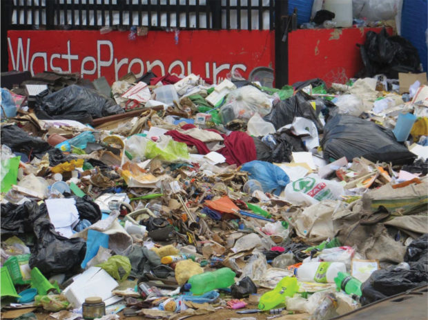Waste plastic delivered to landfills or recycling centres consists of a mixture of different types of plastic