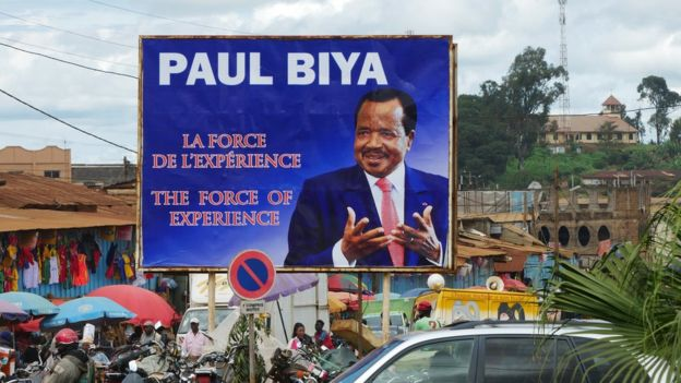 President Paul Biya's bilboard in Cameroon's western city of Bafoussam. President Biya is the second longest serving president in Africa (AGENCIES PHOTO)