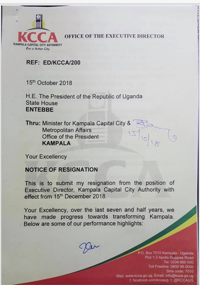 The notice of resignation signed off by the KCCA ED Jennifer Musisi citing she will step aside effective Dec 15