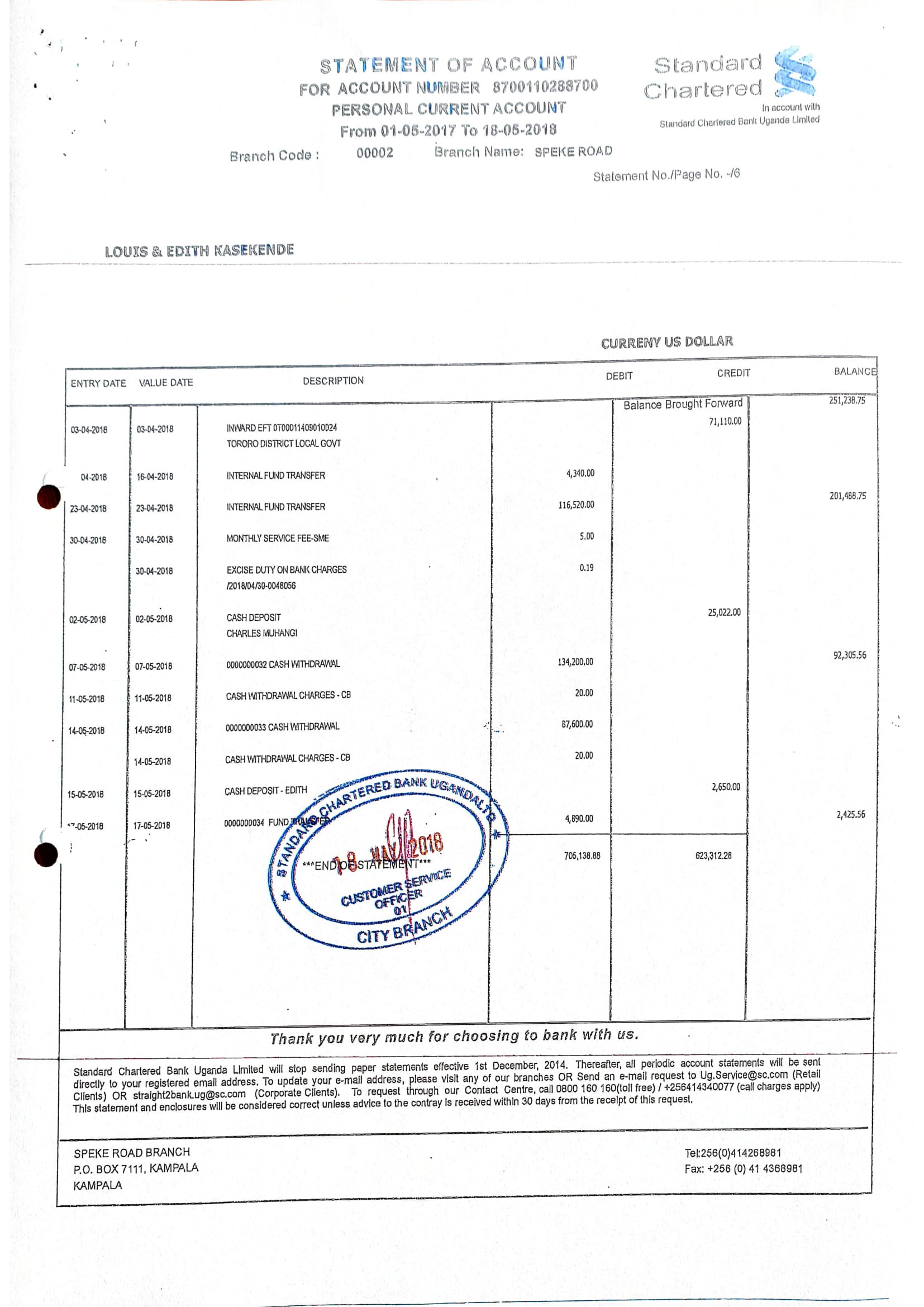 Bank statement of Deputy Governor - Bank of Uganda, Louis A. Kasekende and Wife Edith Kaseskende joint account at Stan Chart bank