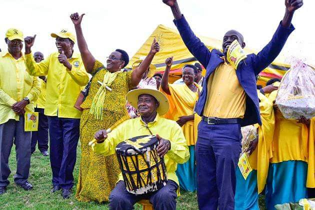 NRM Candidate Kibaaju Naome is joined by party chairman, Yoweri Museveni on a campaign grain recently. She has been declared winner in the just concluded Oct 8 Sheema North by-elections (PPU PHOTO)