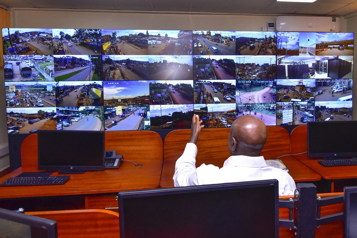 President Museveni commissions the National CCTV system Project at Nateete on Tuesday October 9. Police is set to train over 3,000 officer to man and respond to unusual activity (PPU PHOTO)