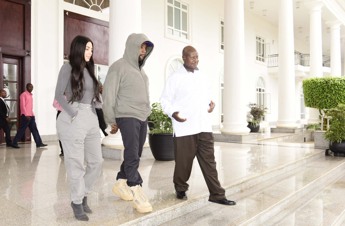 President Museveni sees American celebrity couple, Kanye and Kardashian West after their visit to State House Entebbe Monday October 15 (PPU PHOTO)