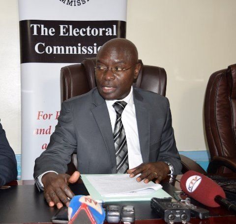 EC Chairperson Justice Simon Byabakama addresses journalists at EC offices Jinja Road. (PHOTO/Courtesy)