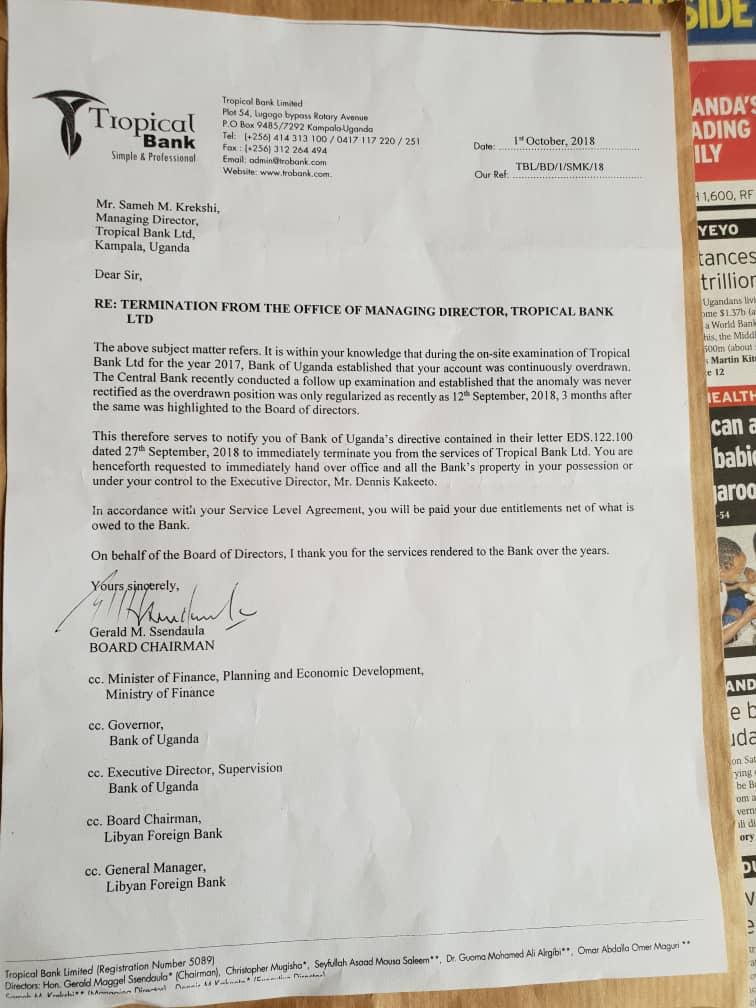 The letter sanctioning the termination of Managing Director, Sameh M. Krekshi's tenure at Tropical Bank