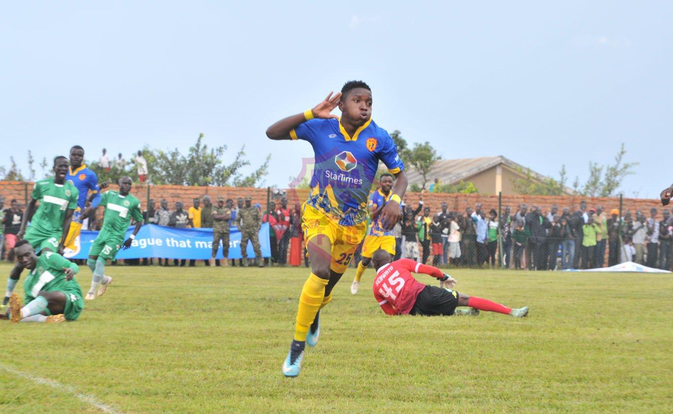 Okello celebrates scoring the opener in the 2-0 win over Onduparaka on Friday