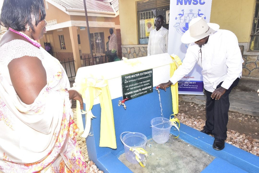 President  Museveni commissions the Kashongi water extension on Sunday (PML Daily PHOTO)