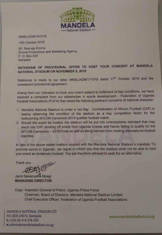 The letter sanctioned by the Namboole stadium management halting the Kyarenga Concert citing standards