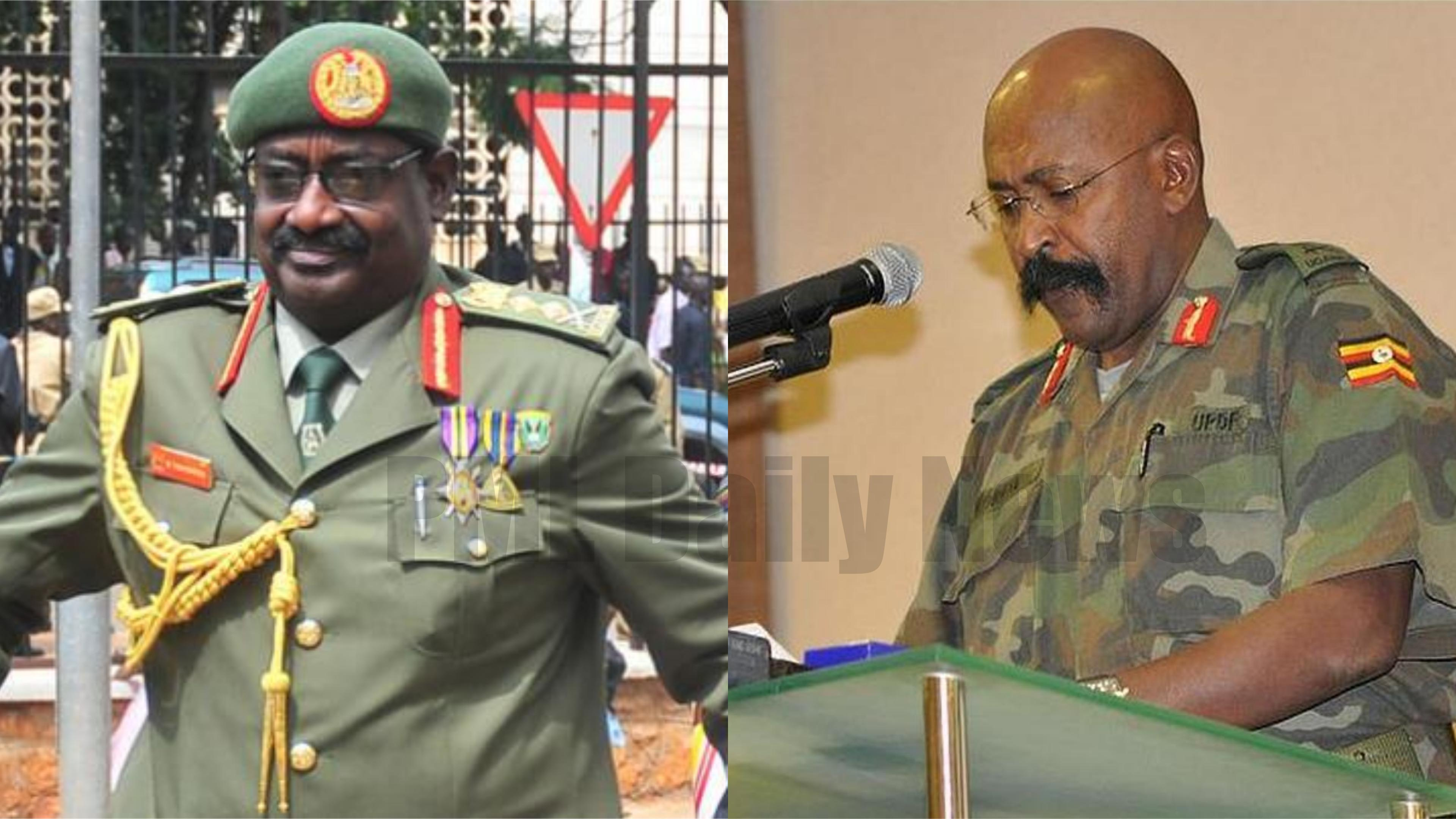 Gen. David Tinyefuza Sejusa(L) and Army Representative in Parliament, Ivan Koreta are set to be retired as UPDF sends home 17 Army officers (FILE PHOTO)