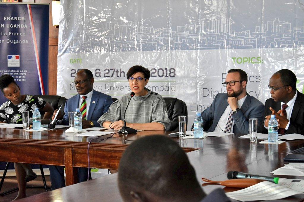 L-R: Charity Atukunda(Cultural coordinator, Alliance Francaise Kampala), Muk Vice Chancellor Prof Barnabas Namwangwe, French Ambassador H.E Stephanie Rivoal ...