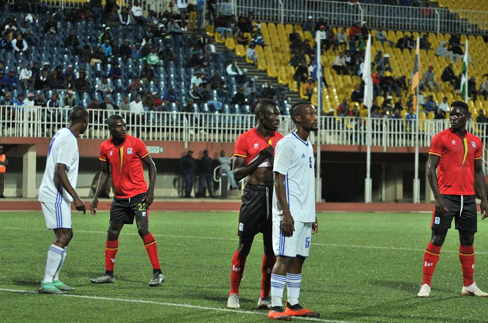The Uganda Cranes in action against Lesotho on Tuesday evening (photo by FUFA Media)