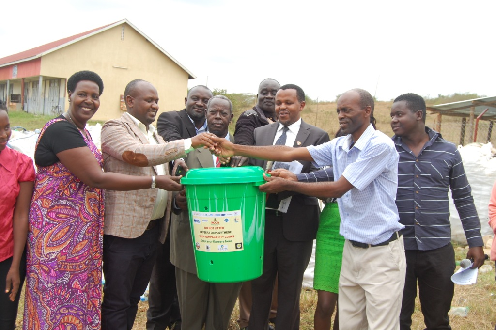 Officials from Uganda plastic management and recyclers Association with, Deputy Mayor Bemanya and Dr. Barigye in agroup photo