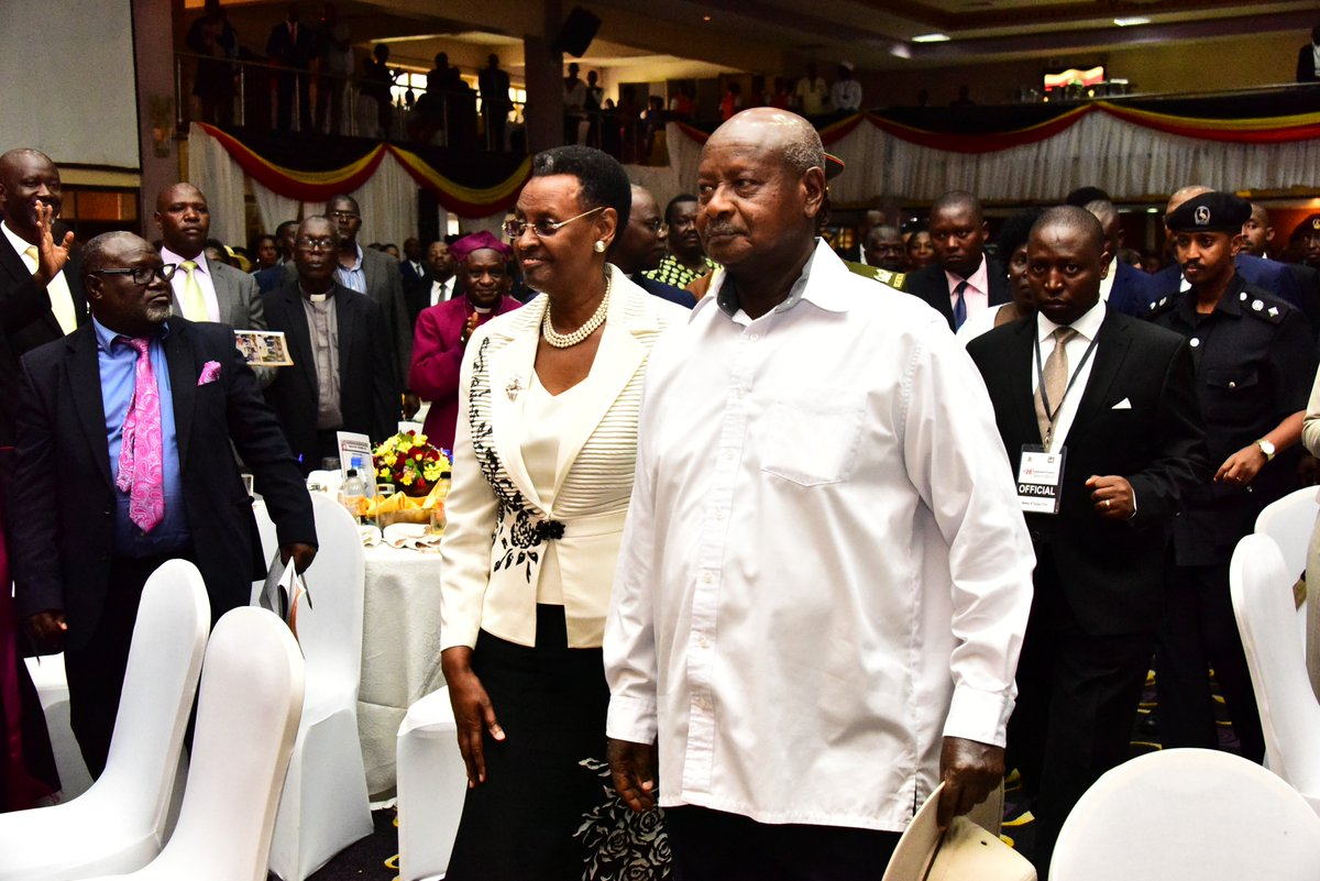 President Museveni arrives at the National Prayer breakfast in company of the First Lady Janet Museveni at the National Prayer breakfast at (PML Daily PHOTO)