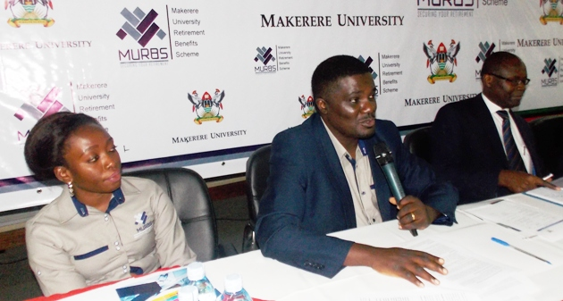 Secretary MURBS Board of Trustees-Dr. John Kitayimbwa (C) flanked by his Chairperson-Mr. Wilber Grace Naigambi (R) and Principal Pension Officer-Ms. Susan Khaitsa (L) responds to questions at the Joint Press Conference (PHOTO BY JAVIRA)
