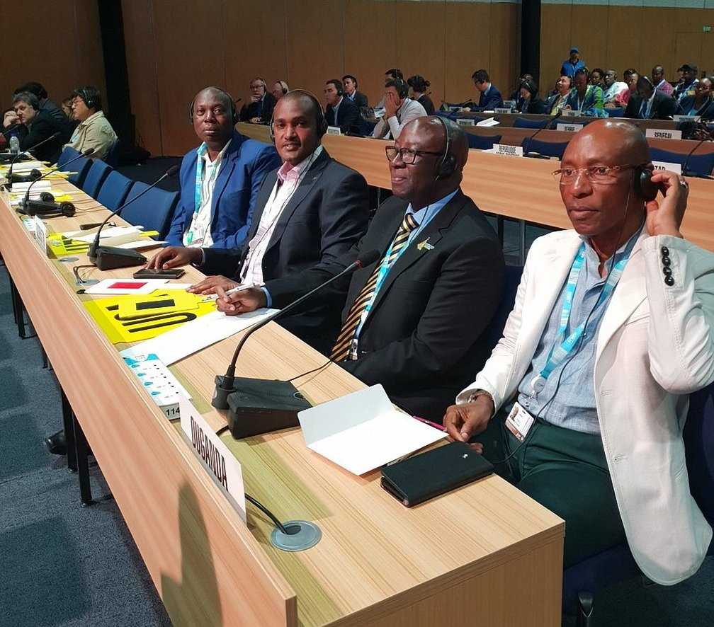 ICT Minister, Frank Tumwebaze and UCC ED Godfrey Mutabazi at ITUPP2018 gracing ITU Council elections (COURTESY PHOTO)
