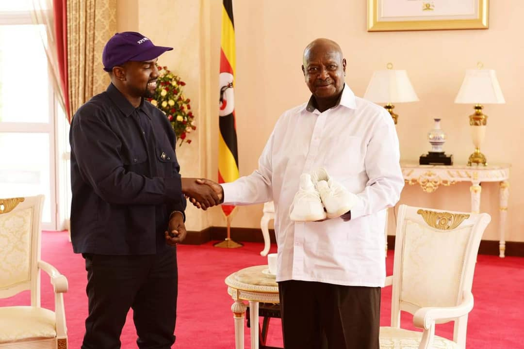 American rapper Kanye West gifted President Museveni with Yeezy sneakers on his vist to State House Entebbe (PPU PHOTO)