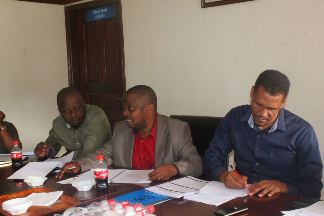 FUFA 1st Vice President Justus Mugisha (M) with  UFA 2nd Vice President Darius Mugoye (L) and FUFA CEO Edgar Watson (R) at the Pre-Assembly meeting with SIGs Delegates in Lungujja
