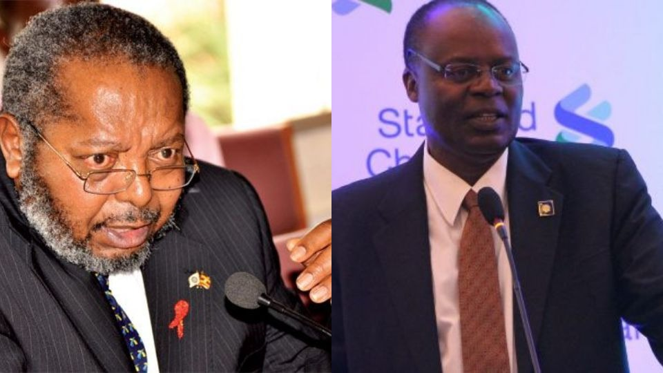 A team from of Bank of Uganda, led bt Governor  Emmanuel Mutebile and his deputy, Louis Kasekende has on Thursday November 1 appeared before  COSASE to explain the alleged anomalies in the sale and closure of Crane Bank and six other commercial banks  (FILE PHOTO)