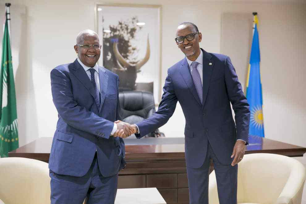 Minister of Foreign Affairs Mr Sam Kutesa met with the President Paul Kagame of the Republic of Rwanda in Kigali on Thursday (Photo By Uganda Media centre)