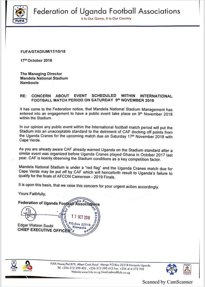 The FUFA letter cautioning the Namboole Stadium management on hosting the concert (public event)