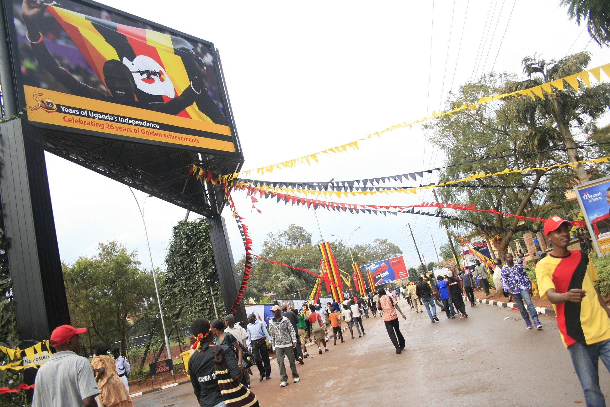 Black, yellow and red decorations adorn streets in Uganda during last year's 50th anniversary celebration