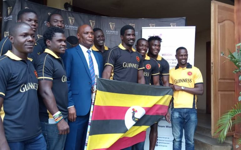 The Rygby Cranes Sevens' team at the flagging off on Monday morning (Photo by Rachael Tebandeke)