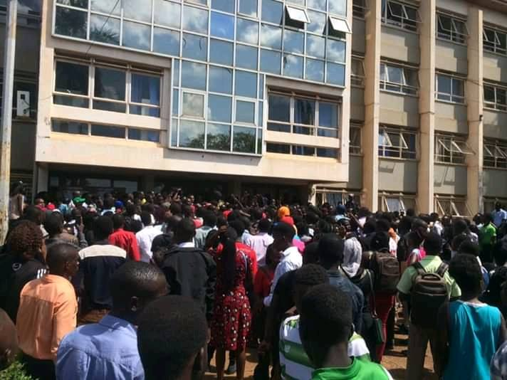 Kyambogo University students gathered protesting  internship increment. ( Photo By Julian Ninsiima)