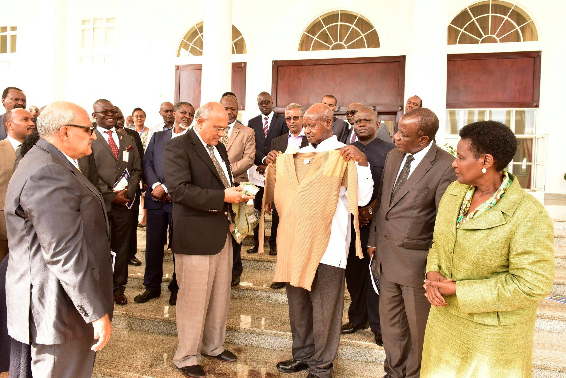 The Manufacturers show President Museveni some items made in Uganda (FILE PHOTO)