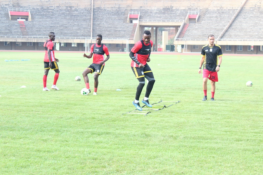 Some of the Cranes players during training on Tuesday evening (Photo by Tebandeke Rachael)